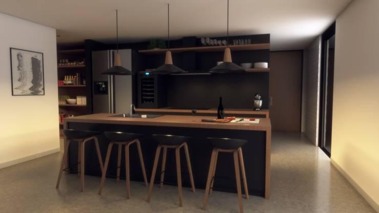 Vista cocina: Cocinas pequeñas de estilo  por Gliptica Design, Escandinavo Concreto