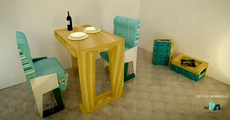 Mobiliario modular y multifuncional para viviendas inferiores a los 50mts2 : Hogar de estilo  por Cindy Castañeda