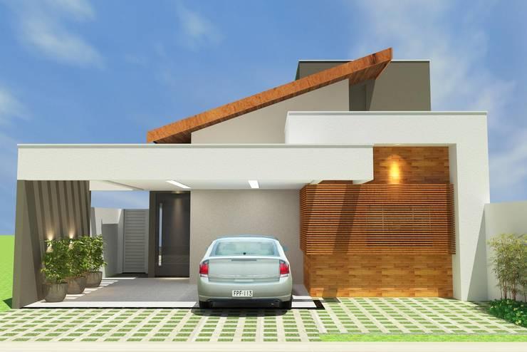Fachada Principal: Casas familiares  por Júlio Padilha Fabiani - Arquiteto