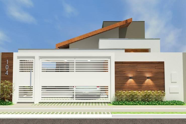 Fachada Externa: Casas familiares  por Júlio Padilha Fabiani - Arquiteto