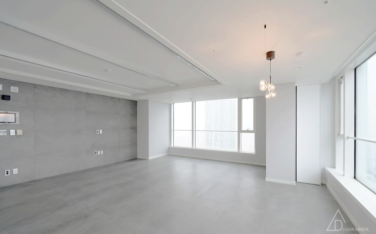 린노조명이 특별한 거실: 디자인 아버의  거실,