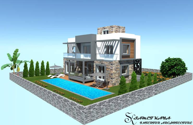 SKY İç Mimarlık & Mimarlık Tasarım Stüdyosu – Bodrum Villa Projesi:  tarz Evler