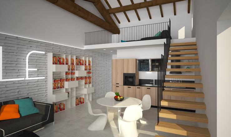 Loft Zarini: Soggiorno in stile  di B+P architetti