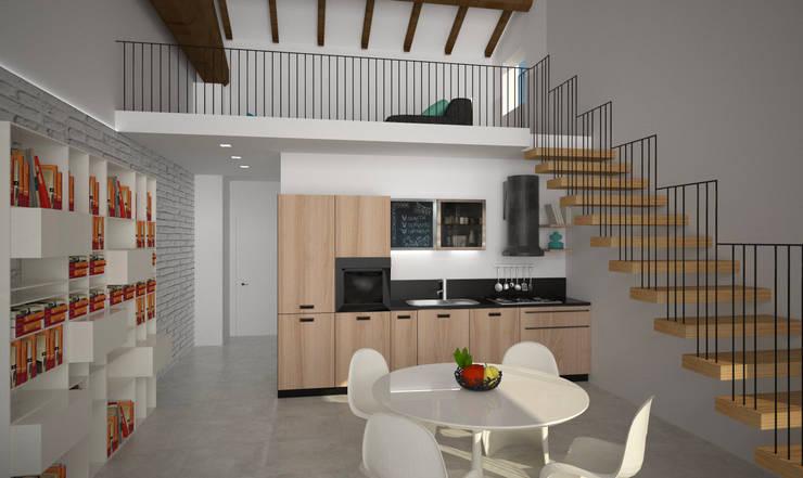 Loft Zarini: Sala da pranzo in stile  di B+P architetti