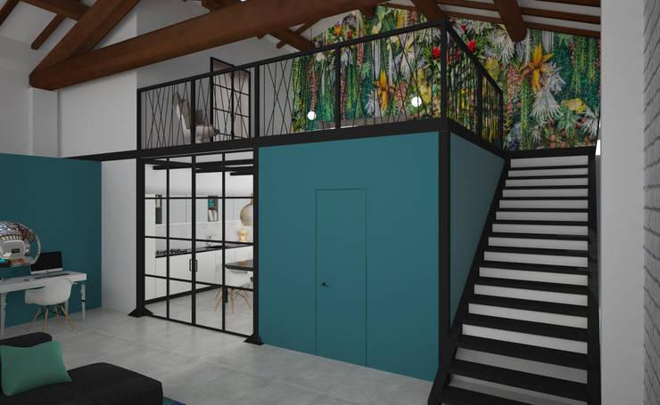 Loft Zarini: Scale in stile  di B+P architetti