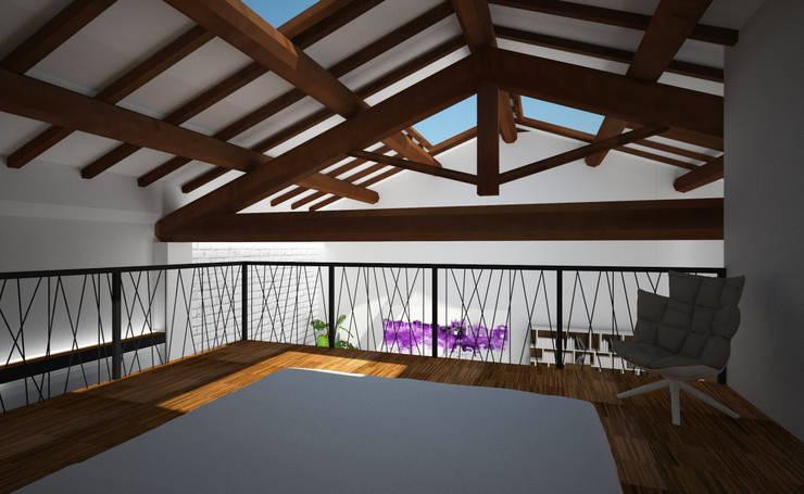 Loft Zarini: Camera da letto in stile  di B+P architetti