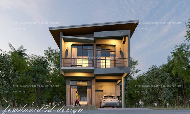 ผลงานการออกแบบบ้านพักอาศัย2ชั้น ปุณวิถี 43 สุขุมวิท101 กรุงเทพฯ:   by fewdavid3d-design