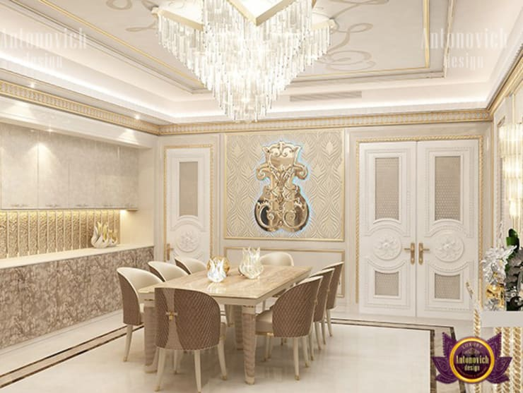 "Elegant Gold Dining Room Design: {:asian=>""asian"", :classic=>""classic"", :colonial=>""colonial"", :country=>""country"", :eclectic=>""eclectic"", :industrial=>""industrial"", :mediterranean=>""mediterranean"", :minimalist=>""minimalist"", :modern=>""modern"", :rustic=>""rustic"", :scandinavian=>""scandinavian"", :tropical=>""tropical""}  by Luxury Antonovich Design,"