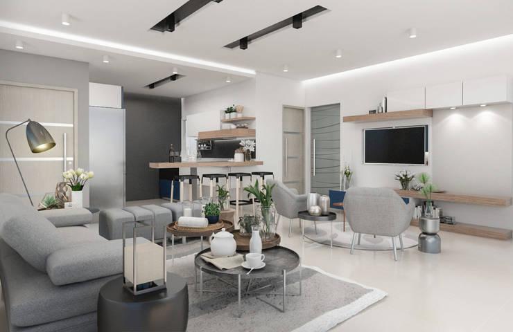 Diseño y decoración de apartamento nuevo: Livings de estilo  por Cindy Castañeda
