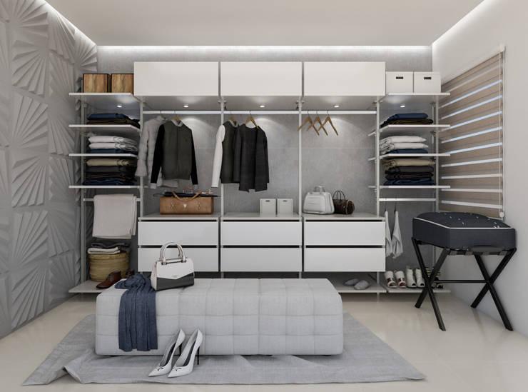 Diseño y decoración de apartamento nuevo: Walk in closet de estilo  por Cindy Castañeda