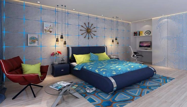 BEDROOM  and LIVING ROOM INTERIORS : modern  by Monoceros Interarch Solutions,Modern