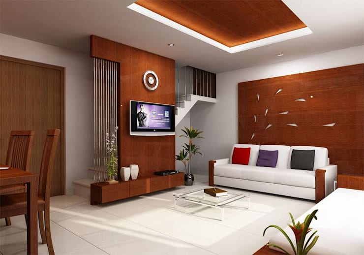 BEDROOM  and LIVING ROOM INTERIORS :  Living room by Monoceros Interarch Solutions,Modern