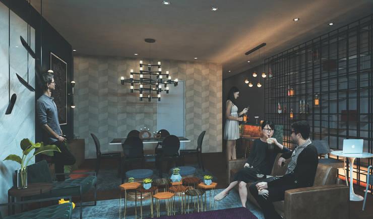 Sala, comedor y bar: Salas / recibidores de estilo  por Fernando Borda Arquitectura de Interiores