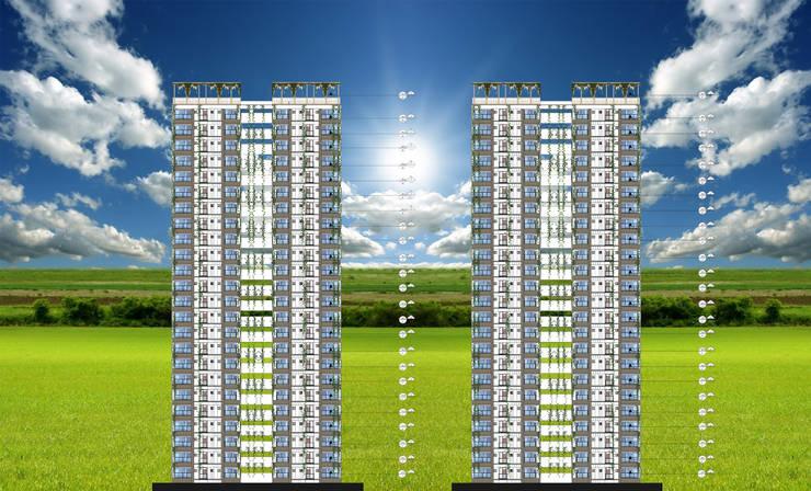 perfil implantacion : Casas multifamiliares de estilo  por OBS DISEÑO & CONSTRUCCION.