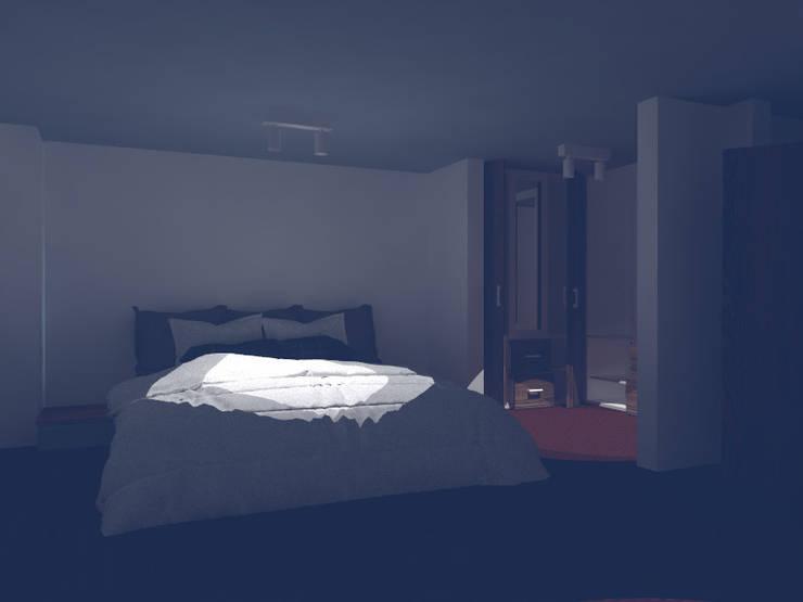 render interior habitacion principal. : Habitaciones pequeñas de estilo  por OBS DISEÑO & CONSTRUCCION.