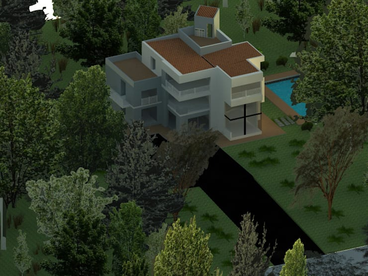 vista aerea : Casas de estilo  por OBS DISEÑO & CONSTRUCCION.