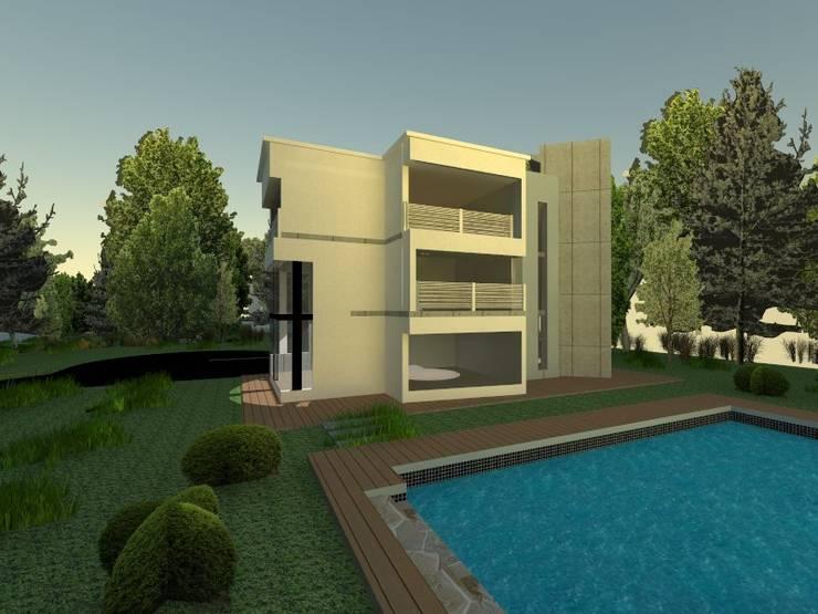piscina : Casas campestres de estilo  por OBS DISEÑO & CONSTRUCCION.