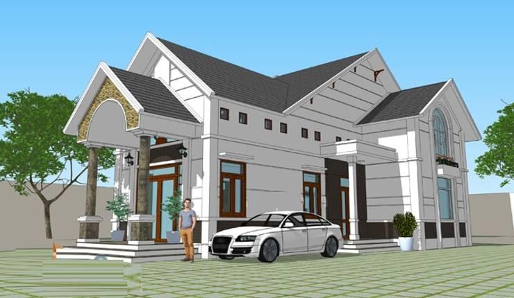 Tư vấn xây nhà vườn mái Thái 1 tầng có gác lửng:   by Kiến Trúc Xây Dựng Incocons