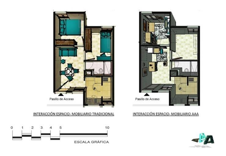 Mobiliario modular y multifuncional para viviendas inferiores a los 50mts2 : Livings de estilo  por Cindy Castañeda