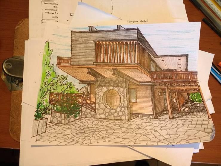 Diseño Cabaña – Lago Colbún: Casas de campo de estilo  por eco cero