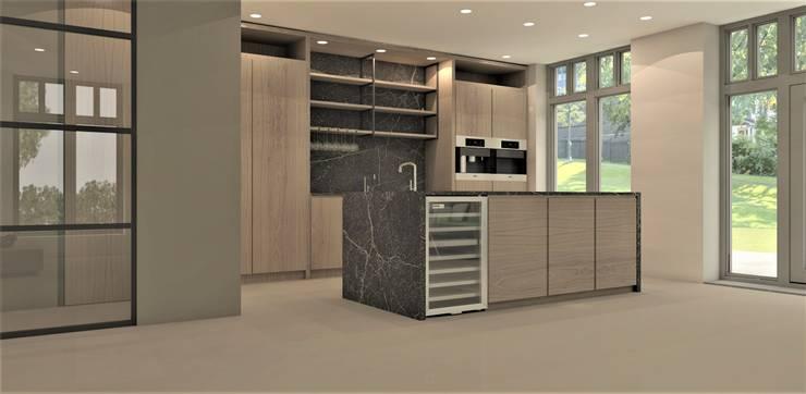 Keuken met zwart marmer:  Keuken door Studio DEEVIS