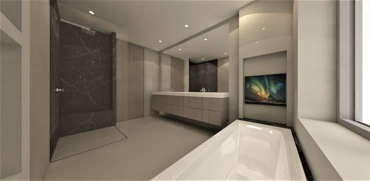 Moderne badkamer met zwart marmer:  Badkamer door Studio DEEVIS