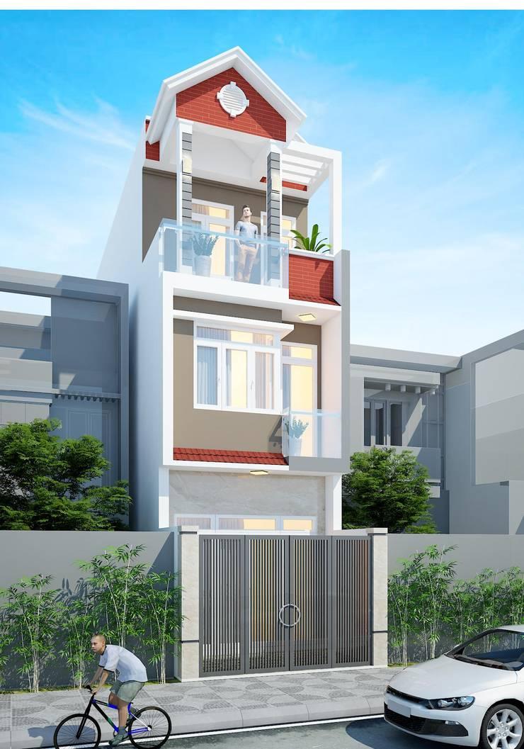 Mẫu nhà ống đẹp 3 tầng:  Cửa sổ gỗ by Công ty cổ phần tư vấn kiến trúc xây dựng Nam Long