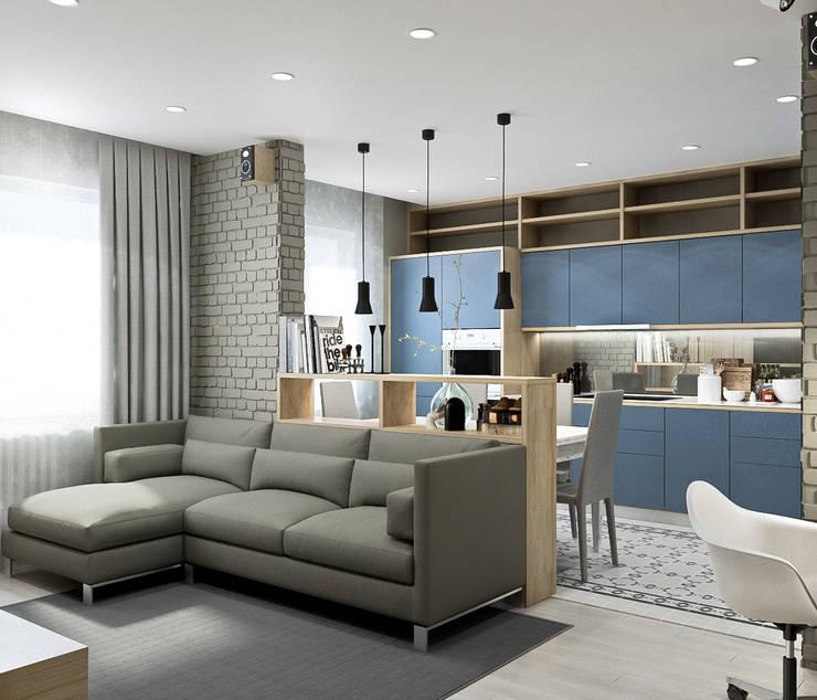 Квартира для молодой семьи в Скандинавском стиле : Гостиная в . Автор – PlatFORM