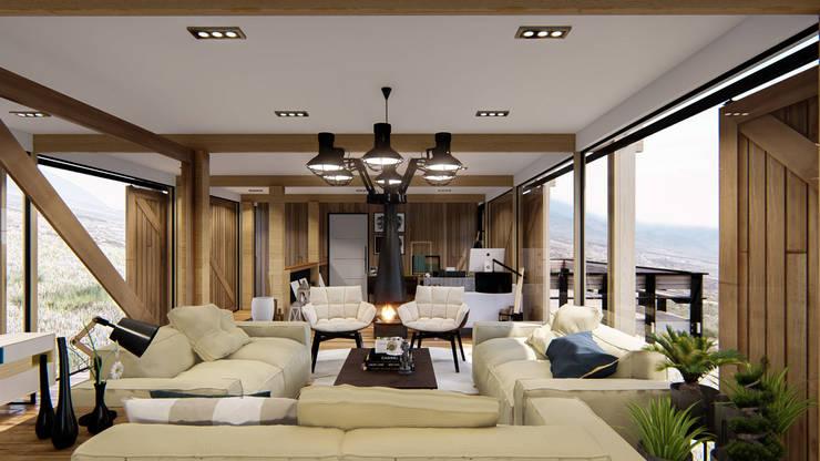 Diseño de espacios con madera: Salas de estilo  por Cindy Castañeda