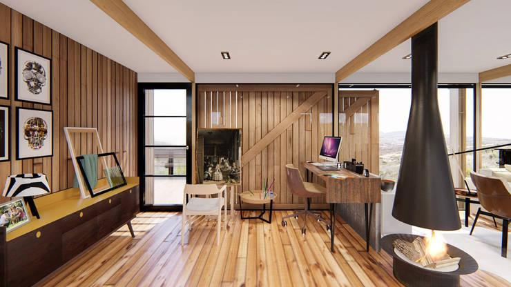 Diseño de espacios con madera: Estudio de estilo  por Cindy Castañeda