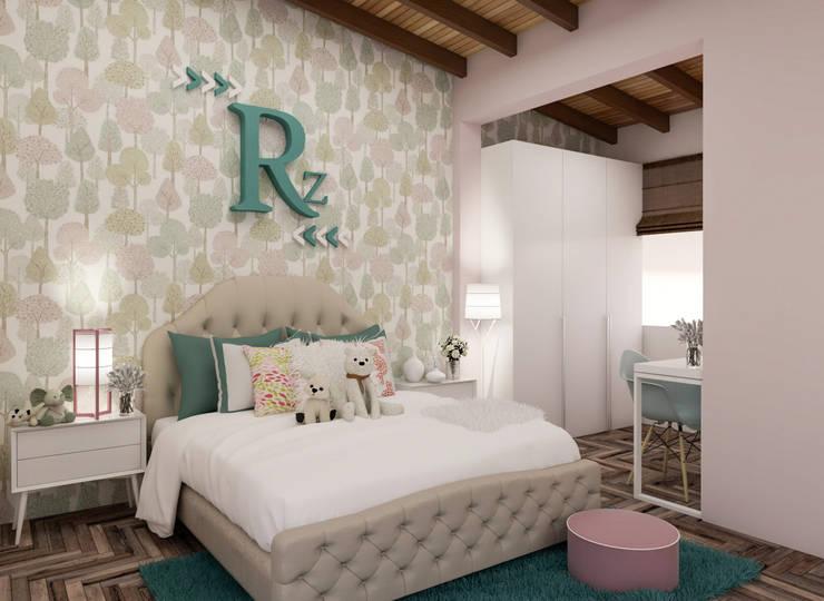 Diseño y decoración de habitación para niña: Habitaciones infantiles de estilo  por Cindy Castañeda