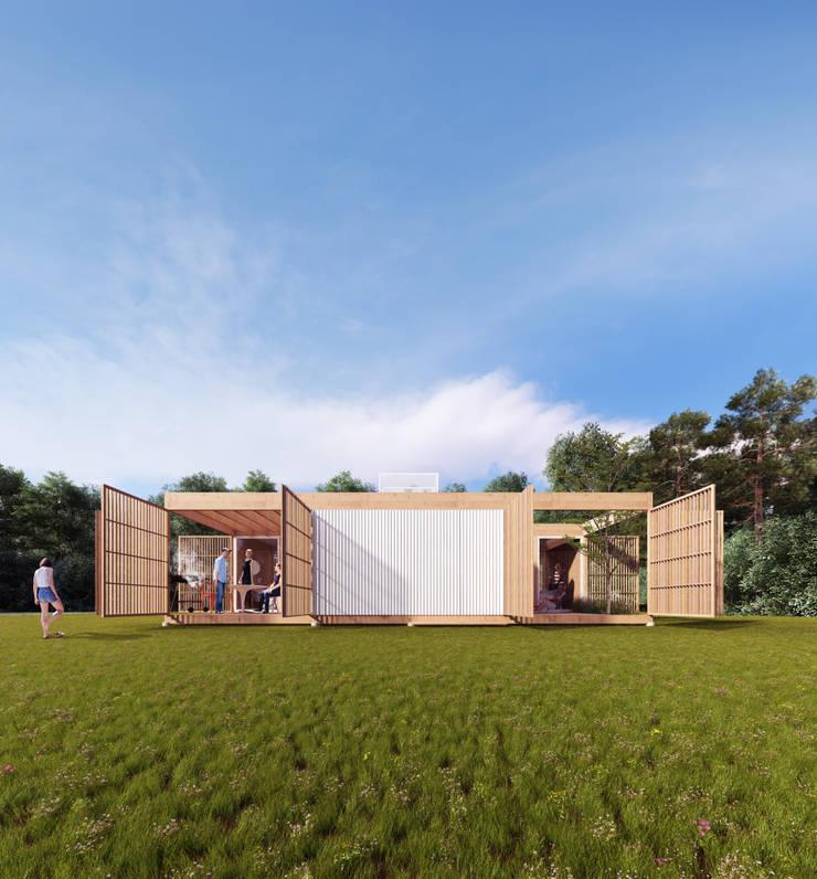 """Concurso nacional de ideas """"prototipo de vivienda sustentable ejecutado con madera"""" - 3er Premio: Casas de madera de estilo  por Arquitecto Casola Walter,"""