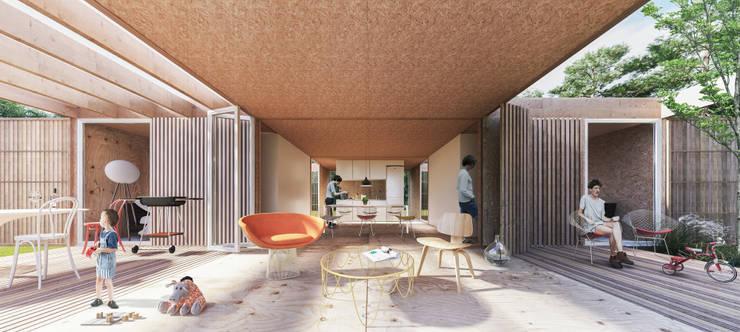 Concurso nacional de ideas <q>prototipo de vivienda sustentable ejecutado con madera</q> – 3er Premio: Casas de madera de estilo  por Arquitecto Casola Walter,