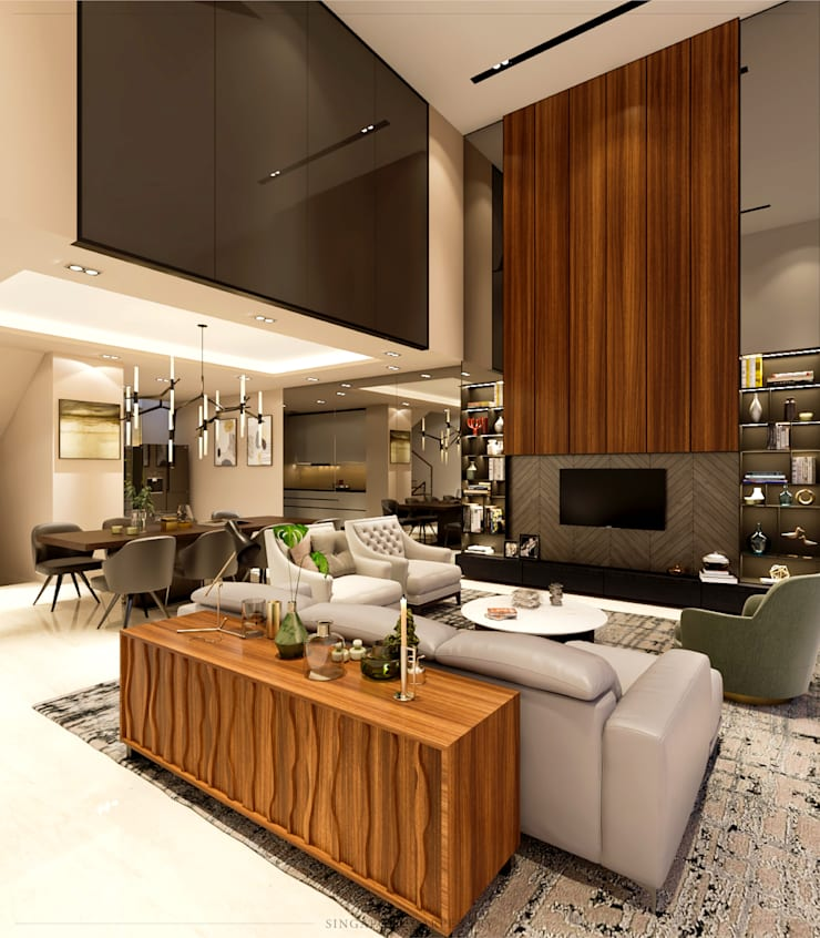 Modern Glamour at Gerald Drive:  Living room by Singapore Carpentry Interior Design Pte Ltd