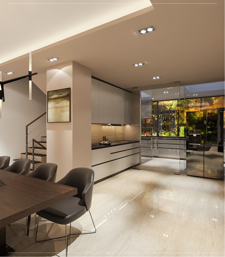 Modern Glamour at Gerald Drive:  Dining room by Singapore Carpentry Interior Design Pte Ltd