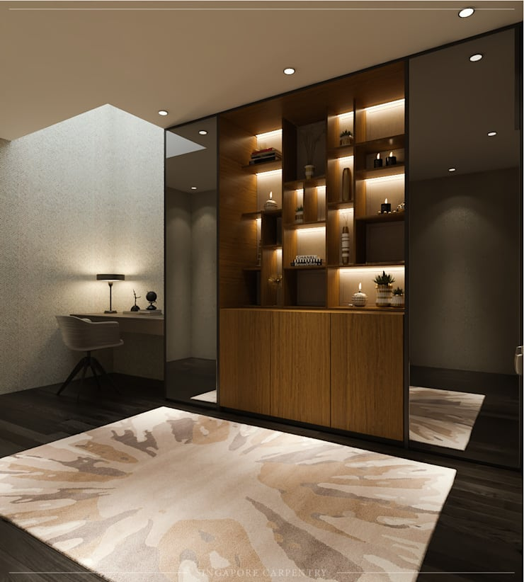 Modern Glamour at Gerald Drive:  Study/office by Singapore Carpentry Interior Design Pte Ltd