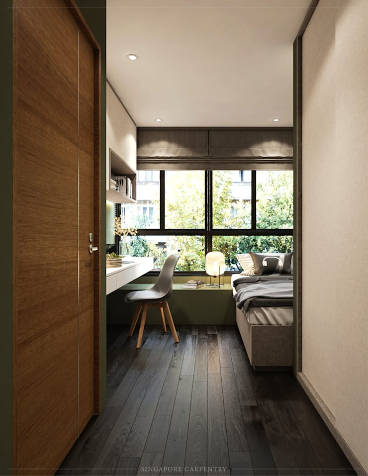 Modern Glamour at Gerald Drive:  Bedroom by Singapore Carpentry Interior Design Pte Ltd