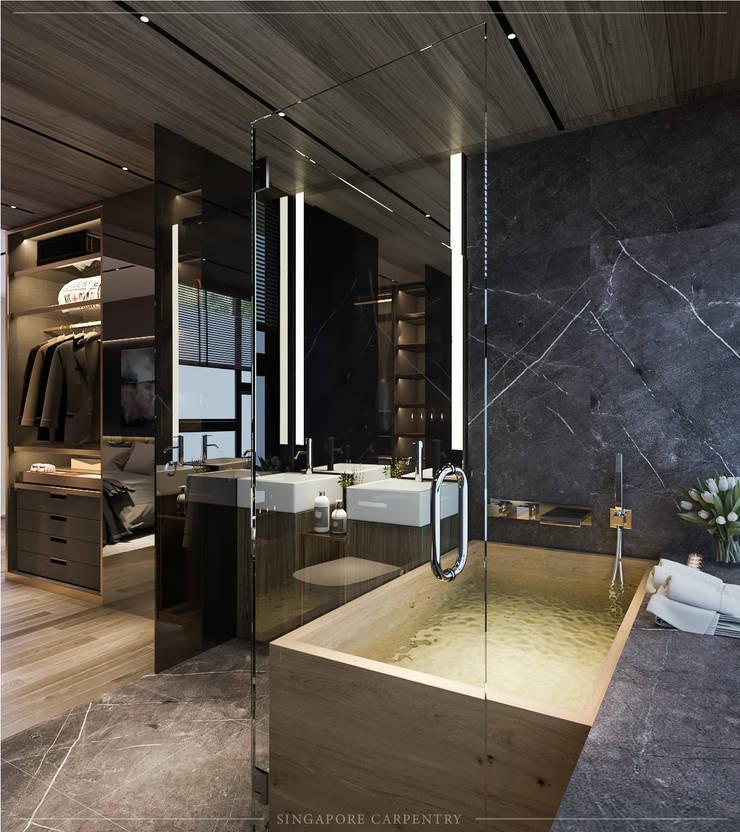 Modern Glamour at Gerald Drive:  Bathroom by Singapore Carpentry Interior Design Pte Ltd
