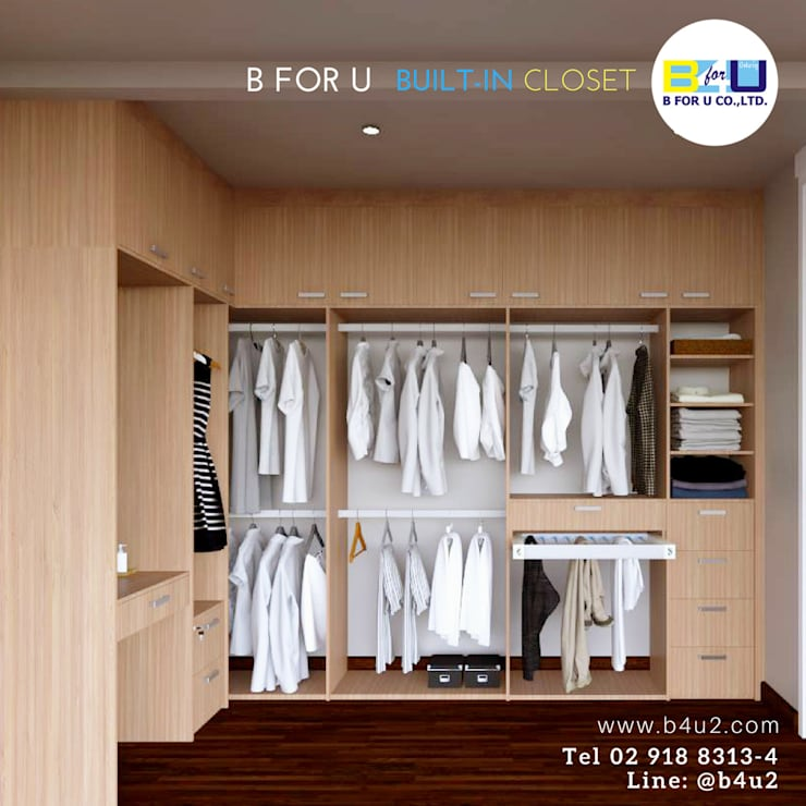ตู้เสื้อผ้า Walk-In Closet:  ห้องแต่งตัว by ฺฺB For U Built-In Closet