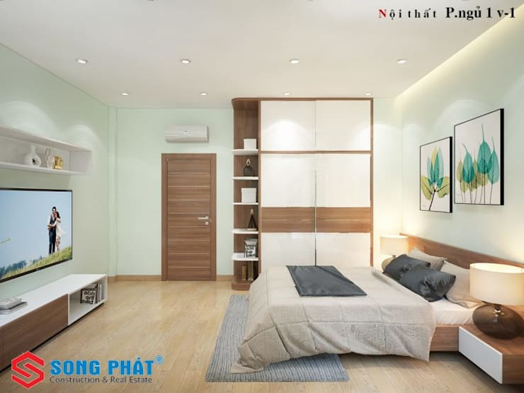Small bedroom by Công ty TNHH TK XD Song Phát, Modern Solid Wood Multicolored