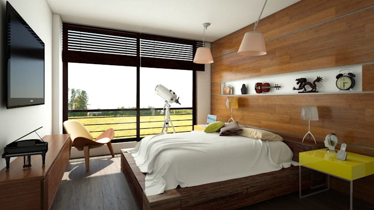 Habitación  apartamento / Conjunto residencial Trapiche Houses / Ibagué - Colombia : Habitaciones de estilo  por Taller 3M Arquitectura & Construcción
