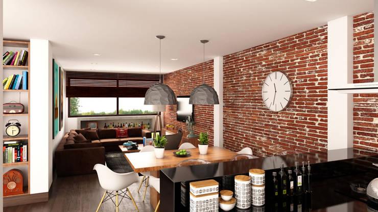 comedor apartamento / Conjunto residencial Trapiche Houses / Ibagué - Colombia : Comedores de estilo  por Taller 3M Arquitectura & Construcción