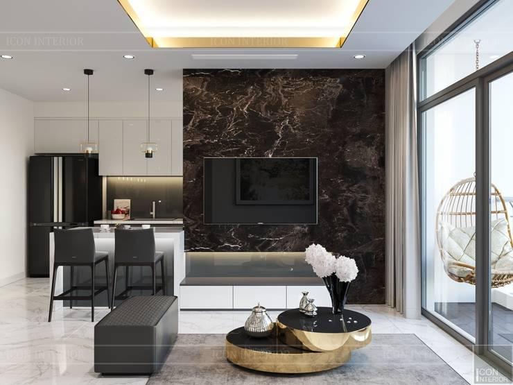 Thiết kế nội thất phong cách hiện đại tiện nghi tại căn hộ Vinhomes Central Park:  Phòng khách by ICON INTERIOR