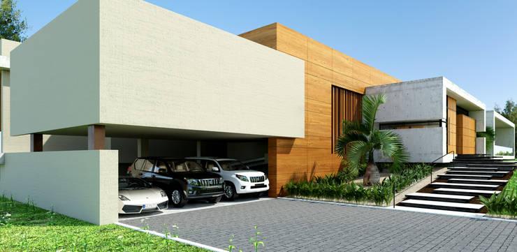Área de garajes / Casa Conjunto residencial Las Victorias / Ibagué - Colombia: Conjunto residencial de estilo  por Taller 3M Arquitectura & Construcción