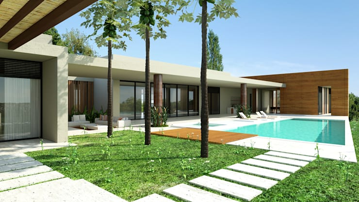 Área de piscina  / Casa Conjunto residencial Las Victorias / Ibagué - Colombia: Piscinas de jardín de estilo  por Taller 3M Arquitectura & Construcción