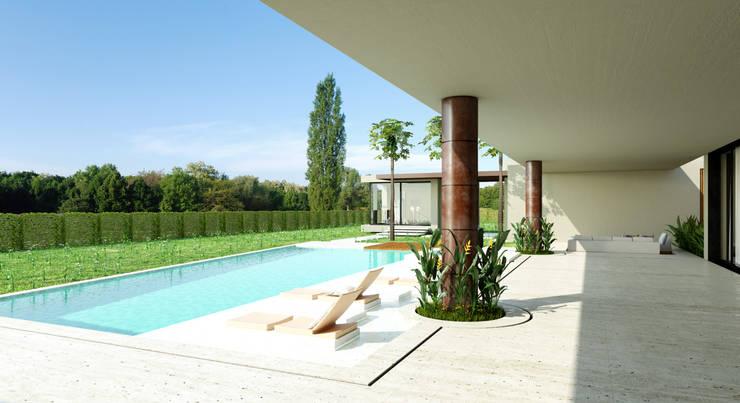 Piscina / Casa Conjunto residencial Las Victorias / Ibagué - Colombia: Piscinas de jardín de estilo  por Taller 3M Arquitectura & Construcción