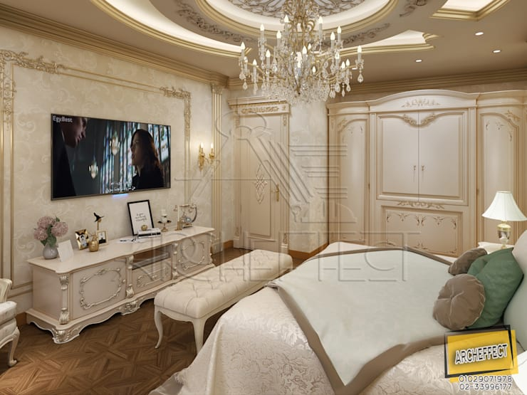 غرفة نوم كلاسيك:  غرفة نوم تنفيذ Archeffect, كلاسيكي