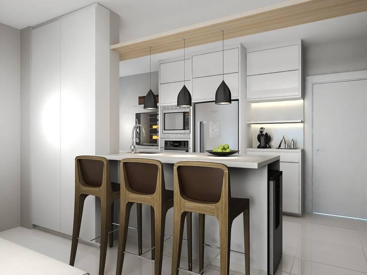 Projeto Interiores: Cozinhas pequenas  por Andrea Girotto Arquitetura + Engenharia