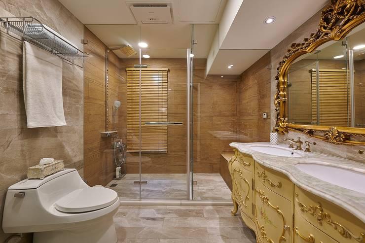 法式古典洗手台,西班亞木紋磚:  衛浴 by 歐式藝廊法式新古典設計