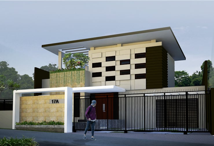 facade design:  Rumah by daun architect